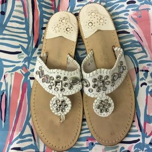 Jack Rogers Flats/ White Leather, Crystals/size 10